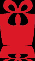 Rode ikoontje van een cadau met strik.